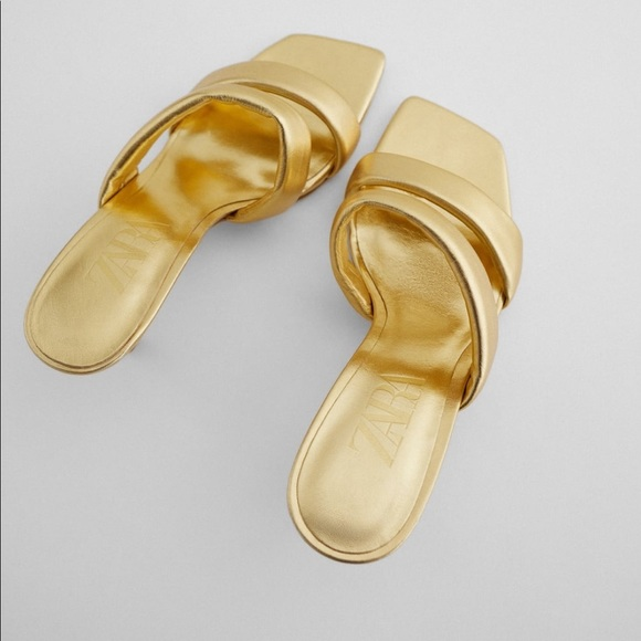 ZARA Metallic Finish Quilted Leather Sandals